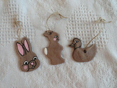 Set of 3 Easter Primitive Chocolate Ornaments~Handmade