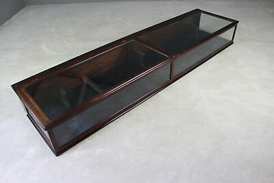 Antique Victorian Mahogany Counter Top Museum Glazed Display Case Cabinet