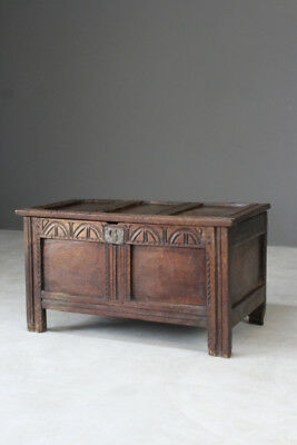 Antique Rustic 18th Century Oak Chest Coffer Box Trunk Sotrage Blanket Bedroom