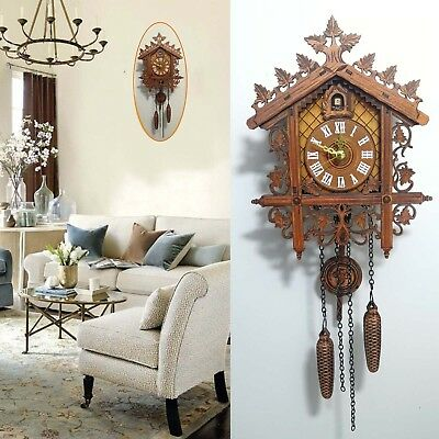 Vintage Cuckoo Clock Forest Quartz Swing Wall Alarm Handmade Room Decor