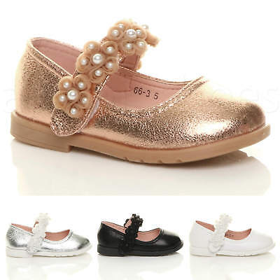 Girls Kids Childrens Flat Flower Mary Jane Strap Bridesmaid Party Shoes Size