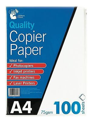 100 Sheets A4 Copier Paper 75gsm Bright White Printer inkjet Fax machine Laser P