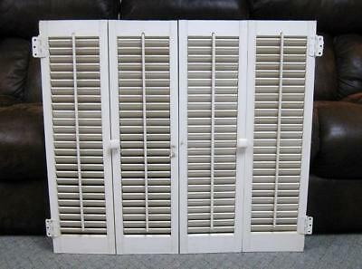 "Vtg White Wood Wooden Folding Louvered Interior Window Shutters 31"" Tall #4"