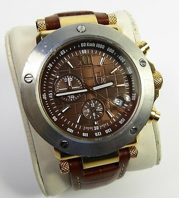 Men's GUESS Brown Gold & Silver-Colour Watch with Brown Leather Strap 2102392