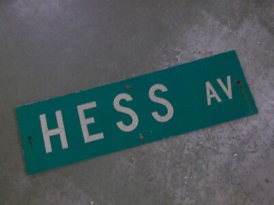 "Vintage ORIGINAL HESS AV  Street Sign WHITE ON GREEN BACKGROUND 30"" X 9"""