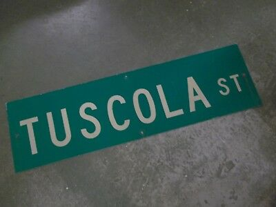 "Vintage ORIGINAL TUSCOLA ST STREET SIGN 42"" X 12"" WHITE LETTERING ON GREEN"