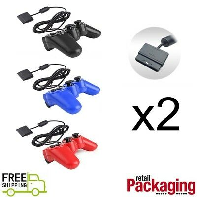 2X Twin Shock Game Controller Joypad Pad for Sony PS2 Playstation 2 US Seller