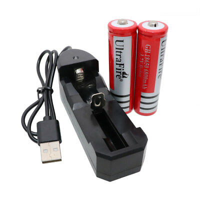 2x18650 Li-ion Battery 6800mAh 3.7V Rechargeable+USB Charger For LED Flashlight