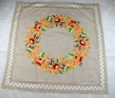 Vintage 50s-60s Square Linen Look Hand Embroidered Floral Tablecloth 37x37