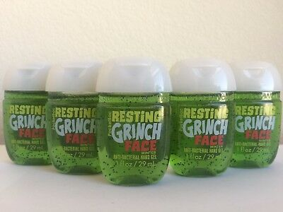 5 X Bath and Body Works WINTER Resting Grinch PacketBac Anti-Bacterial Hand Gel