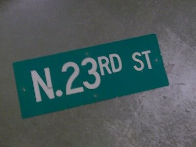 "Vintage ORIGINAL N. 23RD ST Street Sign 24' X 9"" White on Green"
