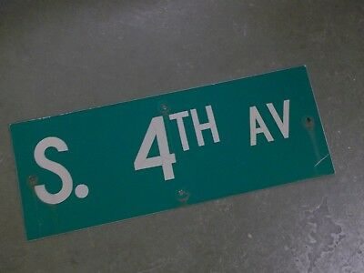 "Vintage ORIGINAL S. 4TH AV Street Sign 24' X 9"" White on Green"