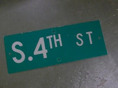 "Vintage ORIGINAL S. 4TH ST Street Sign 24' X 9"" White on Green"