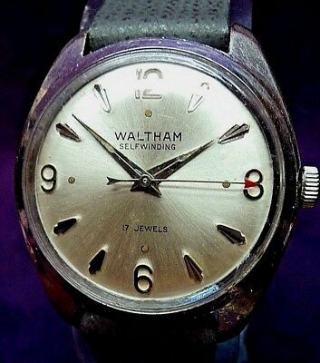 Serviced~1960s Waltham 17J Forster 220 German Automatic Mens Watch~Signed 5X!!