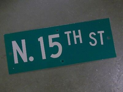 "Vintage ORIGINAL N. 15TH ST Street Sign 24' X 9"" White on Green"
