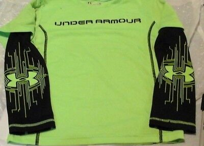 Boys SZ 5 Under Armour Lime Green Long Sleeves allseason gear