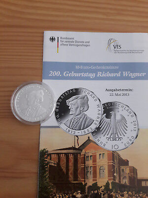 "10 EURO Silber "" Richard Wagner "" 2013 PP inklusive Flyer"