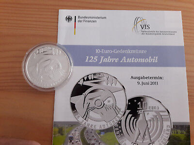 "10 EURO Silber "" 125 Jahre Automobil "" 2011 PP inklusive Flyer"