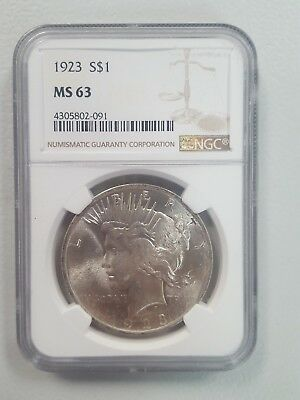 1923-S Peace Dollar Ngc$1 Ms63