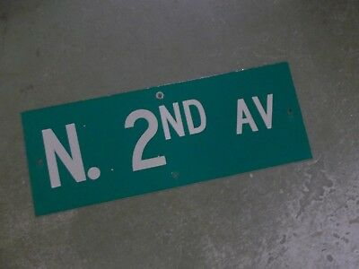"Vintage ORIGINAL N. 2ND AV Street Sign 24' X 9"" White on Green"