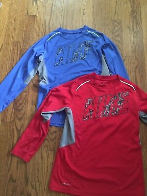 b7ad99ef83b6 NIKE DRI-FIT BOYS Size XL Long Sleeve Athletic Shirt Red Spell Out ...