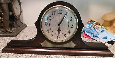 Vintage Gilbert Walnut Key Wind Shelf Mantel Clock w/ Spider Web Dial  AS IS