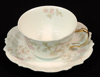 Limoges Bawo & Dotter Elite Cup & Saucer Pink Carnation gold handle France