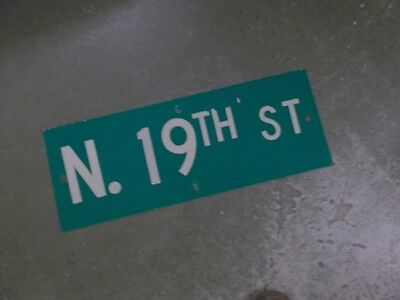 "Vintage ORIGINAL N. 19TH ST Street Sign 24' X 9"" White on Green"