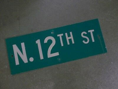 "Vintage ORIGINAL N. 12TH ST Street Sign 24' X 9"" White on Green"