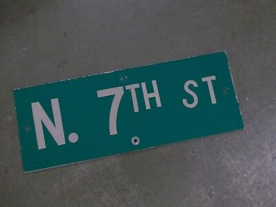 "Vintage ORIGINAL N. 7TH ST Street Sign 24' X 9"" White on Green"