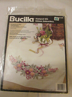 Bucilla Stamped Silk Ribbon Embroidery Bouquet of Silk Tablerunner Kit 41288 NEW