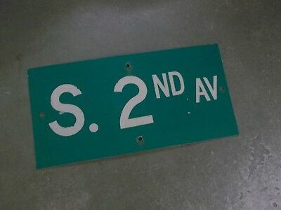 "Vintage ORIGINAL S. 2ND AV Street Sign 24' X 12"" White on Green"