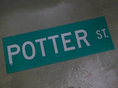 "UNUSUAL 2 SIDED POTTER ST Street Sign 36"" X 12"" White on Green"