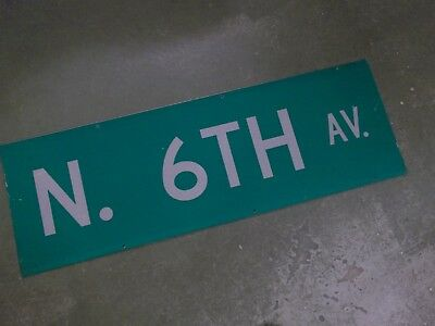 "UNUSUAL 2 SIDED N 6TH AV Street Sign 36"" X 12"" White on Green"