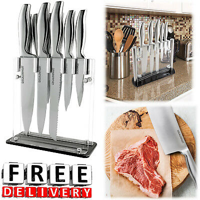 Professional Chef Knife Set Stainless Steel Acrylic Stand Kitchen Tools Knives