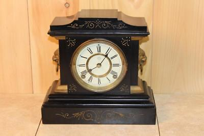 Antique Iron Ansonia 8 Day Mantle Clock ~RUNS~