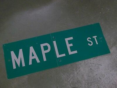 "Vintage ORIGINAL MAPLE ST Street Sign 36' X 12"" White on Green"