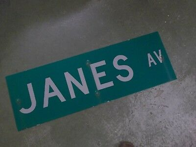 "Vintage ORIGINAL JANES AV Street Sign 36' X 12"" White on Green"