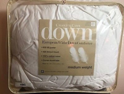 Charter Club KING Comforter Medium Weight European White Down T93172