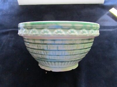 "Antique Robinson Ransbottom 9"" Bowl YellowWare Embossed Crown Mark Stoneware RRP"