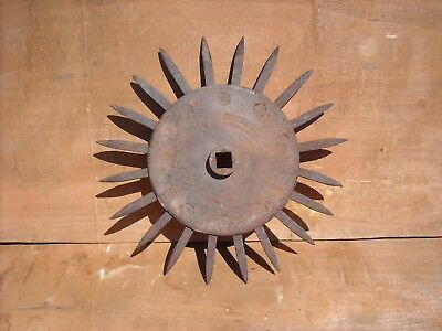 Antique Industrial Iron Rotary Hoe Cultivator Wheel Garden Farm Yard Art