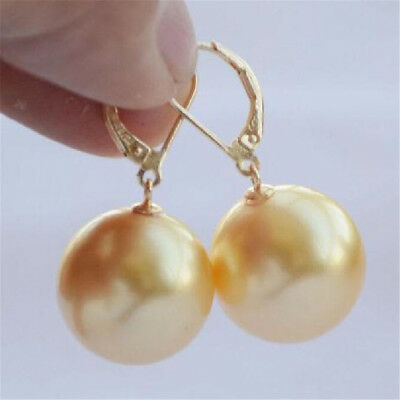 16mm south sea gold platingen shell pearl earrings natural CLASP Perfect chic