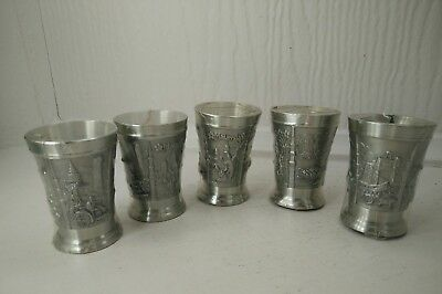 PEWTER SHOT GLASS CUPS set of 5 Malaysia