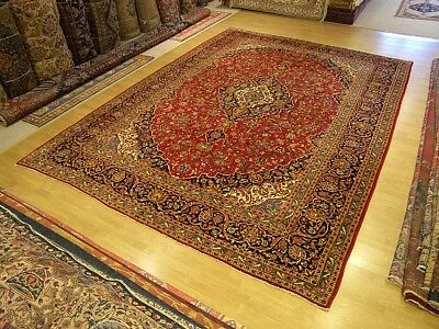 10 x 13.8 Hand Knotted Fine Quality Antique 1940s Persian Oriental Fine Wool Rug
