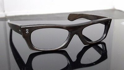 1950's UNSIGNED  USA geek  depp small  brown wood eyegasses classic imosa faosa