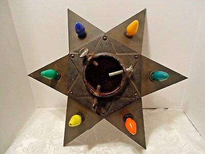 Antique Christmas Tree Stand 1930s Iron 6 Point Star of David Electric Lights