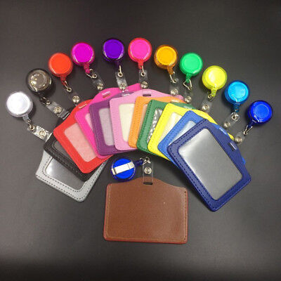 1/5 Set Photo ID Pass Work Card Holder Case + YoYo Retractable Clip Badge Reel
