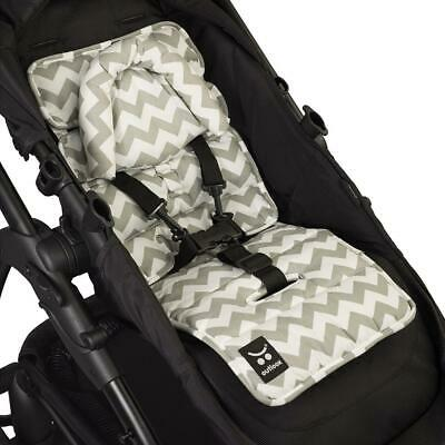 Pram Liner with built in head support - Grey Chevron