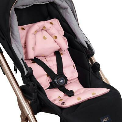 Pram Liner with built in head support - Peach/Gold Spots