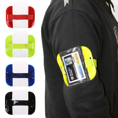 High Visibility Adjustable Security Arm Band ID Badge Card Holder Case Armband